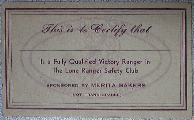Lone Ranger Safety Club Card